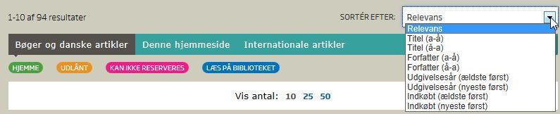 Sortér Bøger og danske artikler